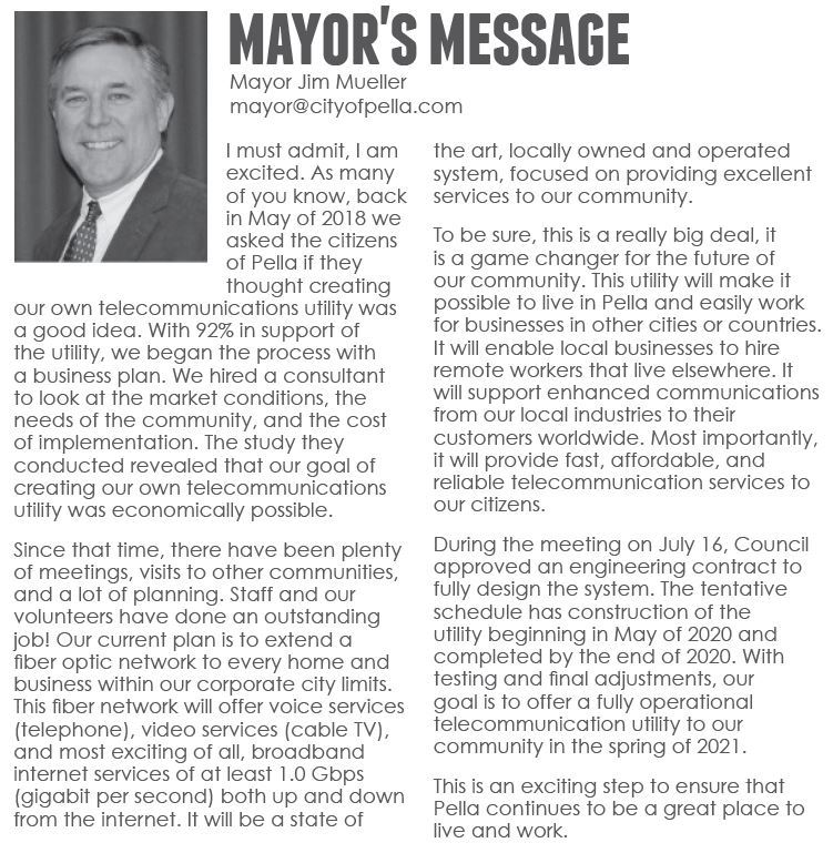 Mayor's Message from August 2019 City Newsletter